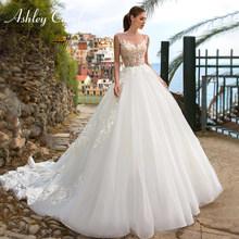 Эшли Кэрол свадебное платье, 2020 Элегантное свадебное платье с кружевной аппликацией, без рукавов, свадебное платье по индивидуальному зака...(China)