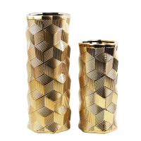 Newest Gold 3D Grid Ceramic Modern Vase For Luxury Home Decorative