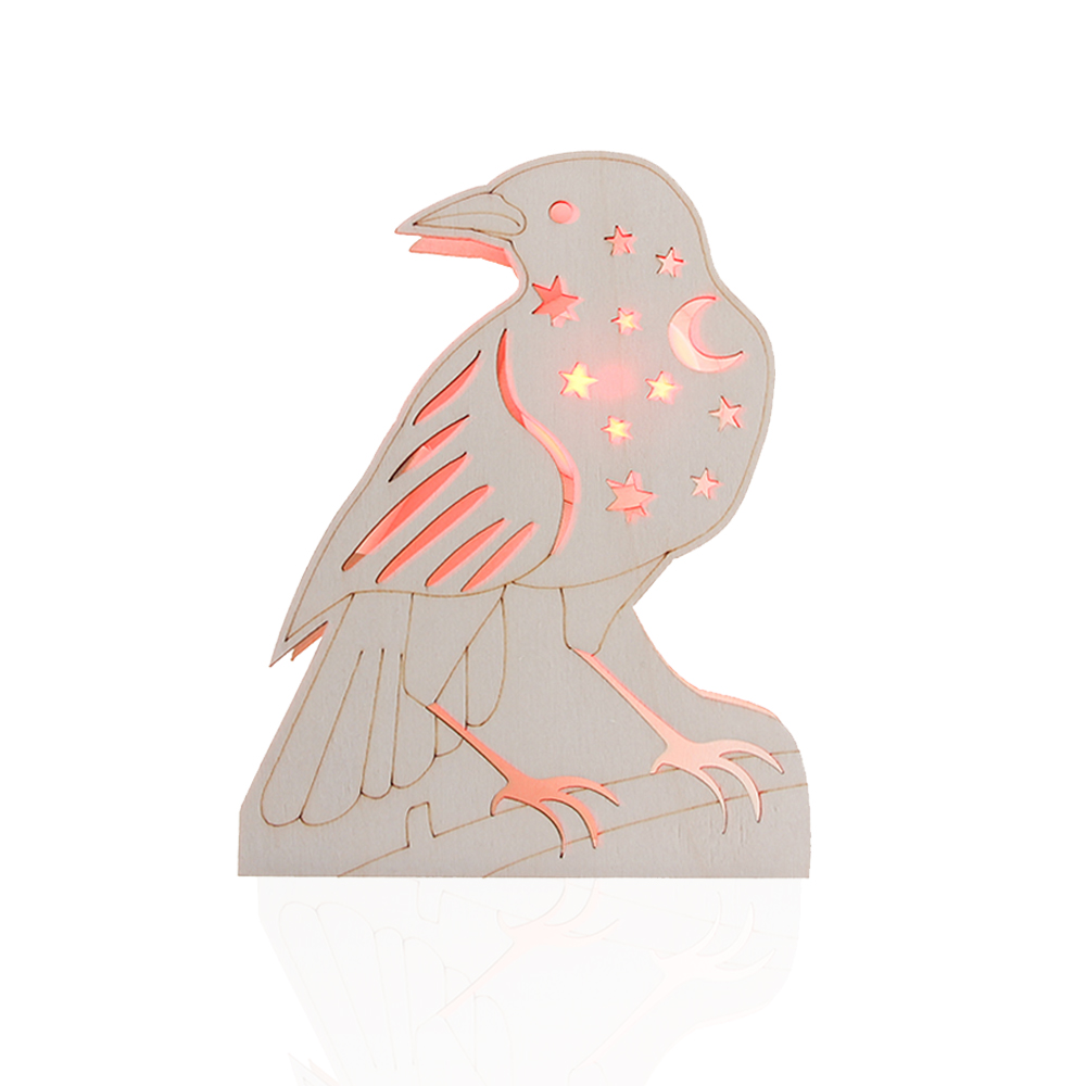 Wholesale new design letter crow shaped led lighted wooden party halloween decoration