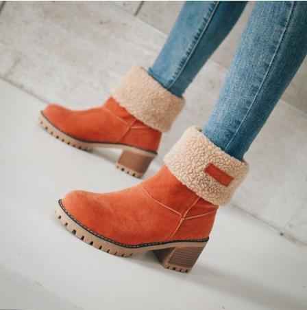 Femmes Chaussures bottes de Neige talon talon Dames Hiver Flock Haute Talons Bottes Bottines De Mode Court Bootie Slip-On extérieur Chaussures