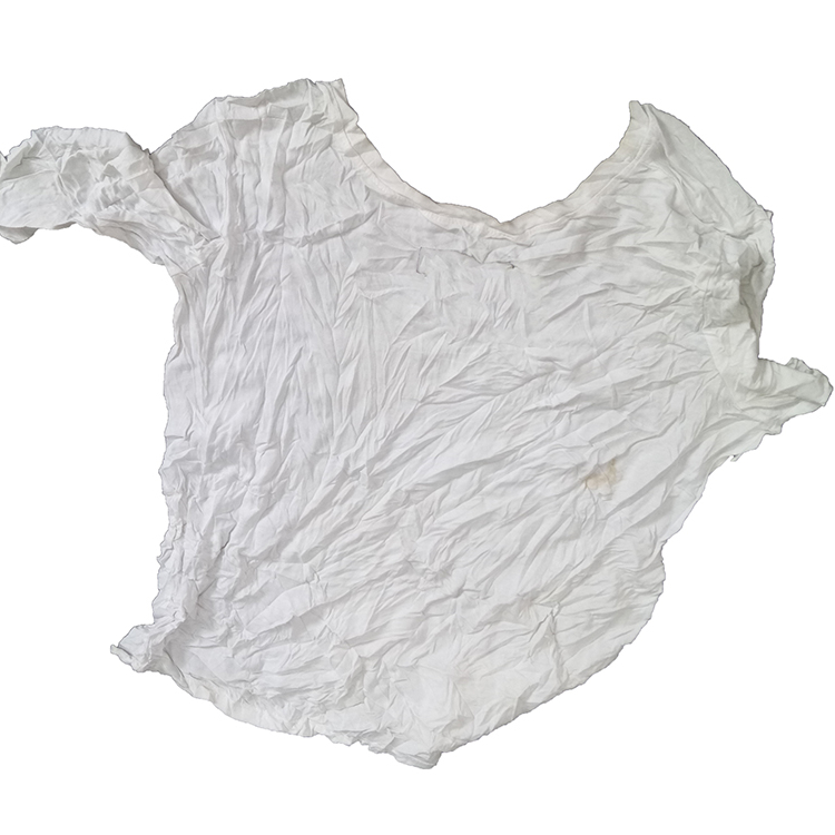 Reclaimed bulk 100 cotton T-shirt fabric waste trapo industrial cleaning white rags