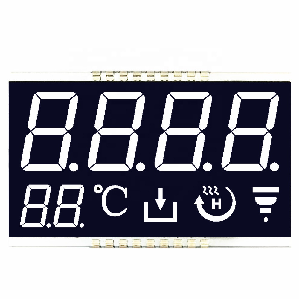 Custom size Numeric 7 Segment <strong>LCD</strong> Display White On Black <strong>LCD</strong> For Thermostat