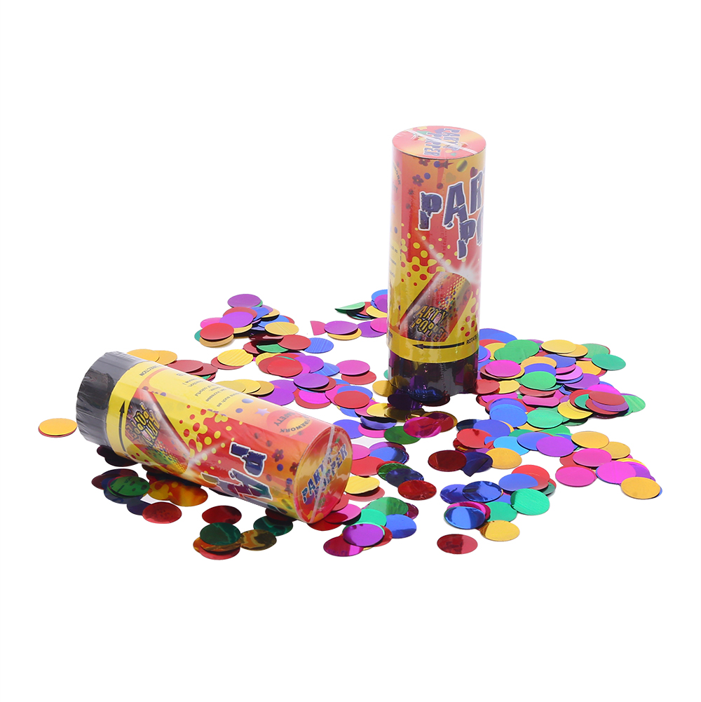 11cm Spring driven party popper metallic foil circle confetti party cannon