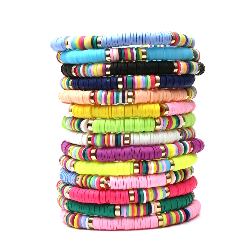 Boho Ruigang Polymer Clay Disc Beads Stretch Bracelet 2019 New Fashion Multicolored Vinyl Record Beads Mixed Surf Jewelry Gift