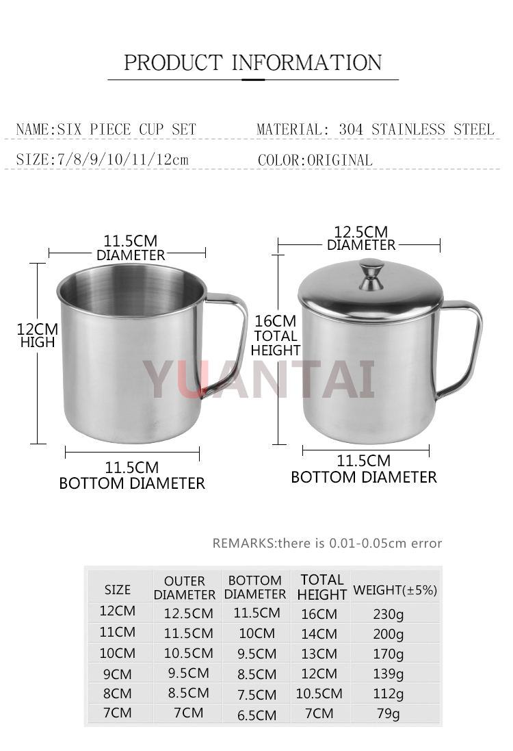 Factory direct sale SS304 large capacity cup Stainless steel Beer mugs, coffee mugs