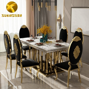 Home furniture factory metal marble dining table set modern dining tables with 6 chairs for restaurant DT023