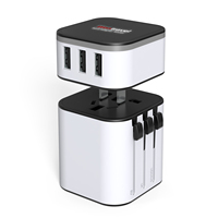 New Design OEM Logo Printing Worldwide Universal Travel Adaptor Plug Charger USB Power Adapter