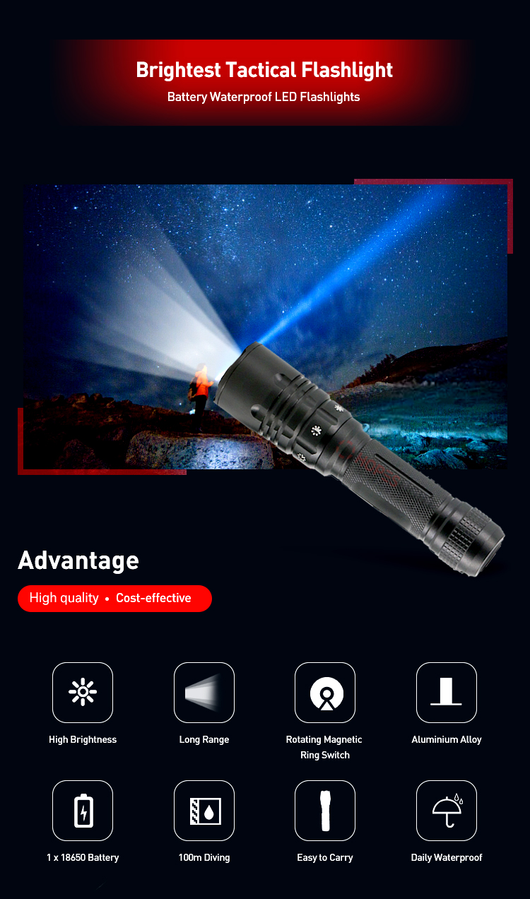 100m Waterproof Diving Light Magnetic Ring Switch Tactical LED Flashlight Push Button Underwater Tool Torch