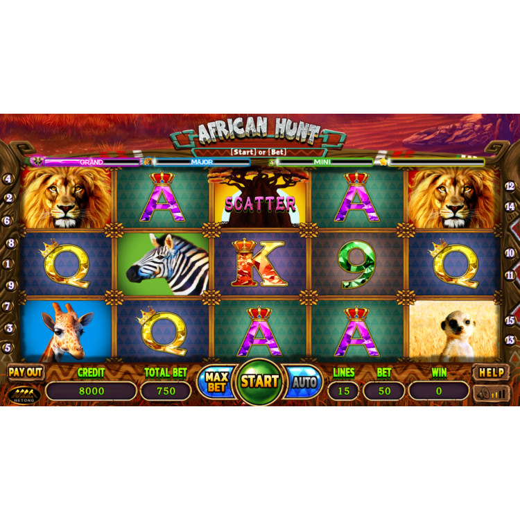 2020 Arcade Video Games African Hunt Slot Game Board