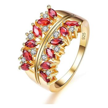 Cubic Zirconia Ring Flower Hollow Shape Gold Plated Engagement Wedding Jewellery