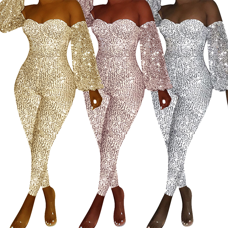 GC-T010  wholesale fashion sexy off shoulder long sleeve Sequin Fashion  Night Club bodycon jumpsuit mujer women 2019
