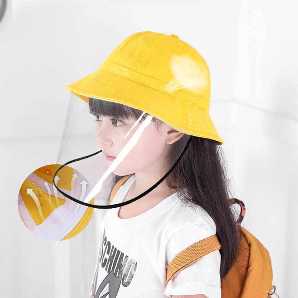 Anti Vervuiling Beschermende Katoen Hoed Met Transparante Cover Anti-Fog Zonnehoed Kids Anti-Uv Emmers Hoed Kids Protect Caps