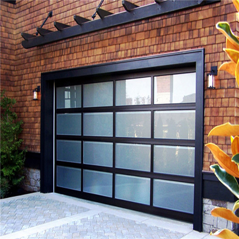 9*8 feet Black automatic aluminum with tempered glass garage door ready to ship