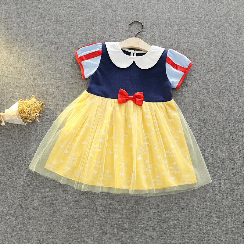 Wholesale baby Girls clothes Snow White dresses cotton princess dress Lovely 3-8 years old summer kids Girls clothing