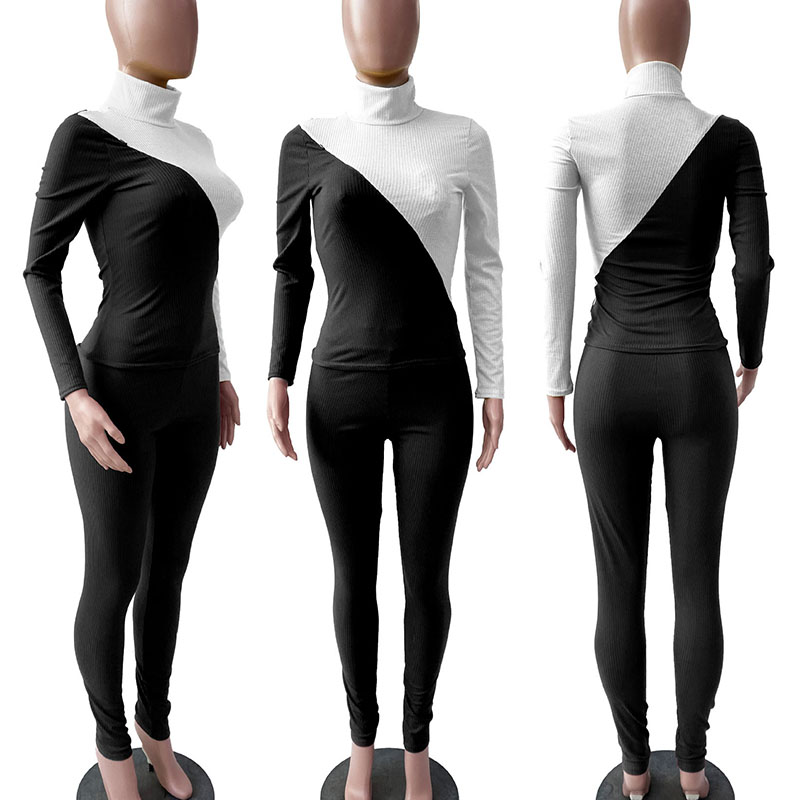 Fashion Fitness Jumpsuit Women Casual Elastic Skinny Long Romper New  Patchwork Turtleneck Bodysuit