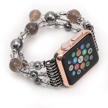 Ремешок-браслет для часов Apple watch 5 4 band 44 мм 40 мм ручной работы женские Ремешки для наручных часов iwatch 3 2 1 band 42 мм 38 мм аксессуары(China)