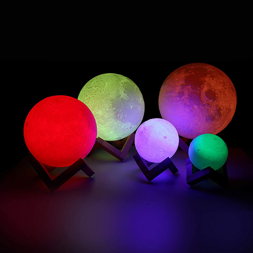 Amazon Hot Selling 3D Print Moon Light Led Moon Lamp Table Lamp 16 Colors Dimmable Remote Control Touch Switch