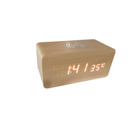 Aboutiem MT1616 new arrival Wooden humiture desk clock bluetooth speaker alarm clock/wireless charger