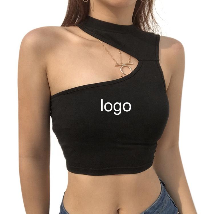 women stretchable slim fitting asymmetrical sleeveless knit t-shirts one shoulder black crop top