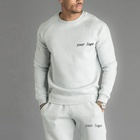 Custom Men O Neck Soft Fleece Warm Top Gym Fitness Hoodie Sports 2 pieces Tracksuit Set