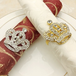 High Quality Diamond Crown Napkin Rings Gold Plated Metal Napkin Buckle Factory Outlet Napkin Holder for Festival Wedding Party