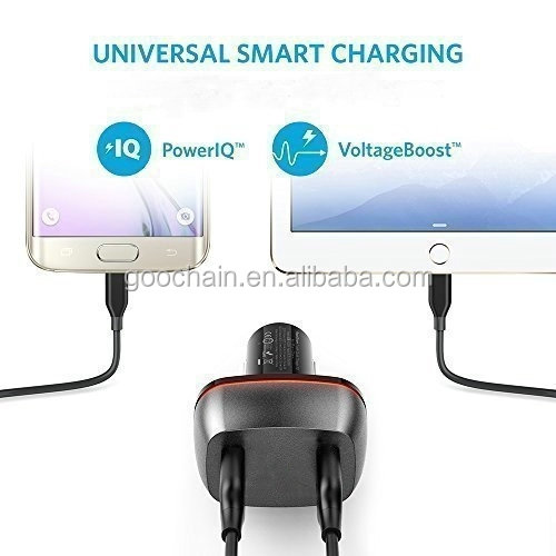 Wholesale QC3.0 dual car charger fast charger 2 port usb car charger adapter portable smartphones