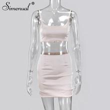 Simenual вечерние Клубные костюмы, Модный женский комплект, без рукавов, сатиновый сексуальный комплект из двух частей, однотонный облегающий т...(Китай)