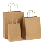 White Brown Kraft Paper Twisted Handle Shopping Carrier Bag Logo