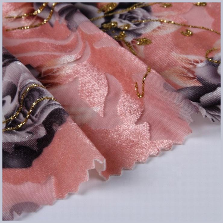 Coréen brillant fleur style robe en gros velours tissu pour impression numérique de la chine