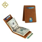 Custom handmade slim rfid stylish original real crazy horse leather card holder mens genuine leather wallet with money clip