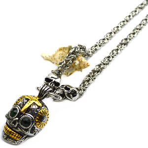 Stainless Steel Punk Biker Jewelry Leather Chain Skeleton Skull Pendants Necklaces for Men Jewelry