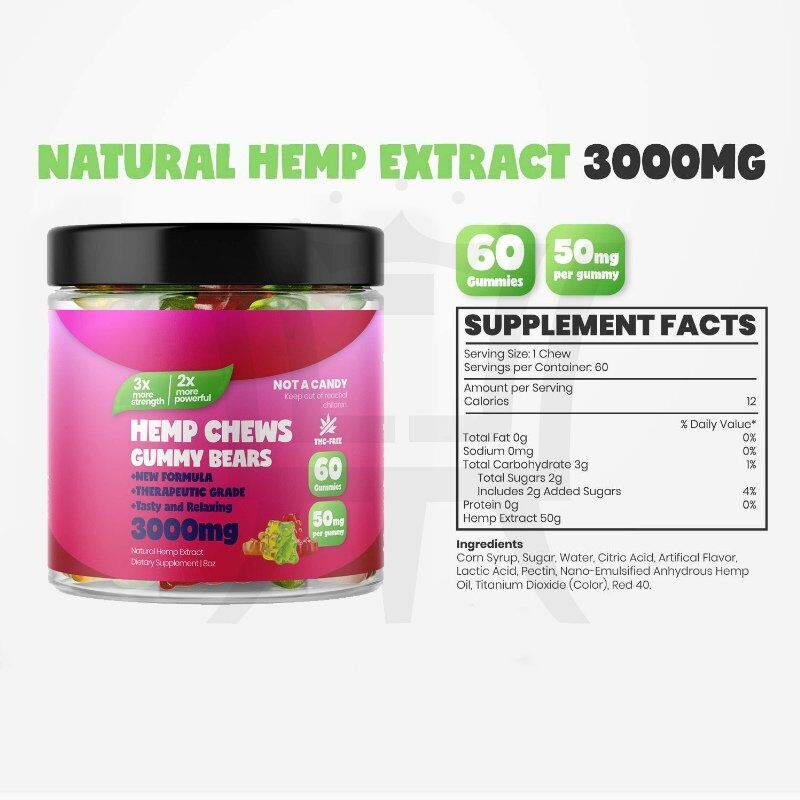 Hemp gummy for adults - Full of Omega 3 6 9 - Rich Vitamin E&B - Promote health