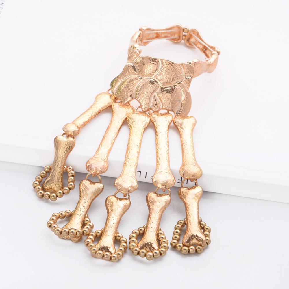 B1160 Halloween Nightclub Gothic Punk Skull Finger Bangles Women Skeleton Bone Hand Bracelets