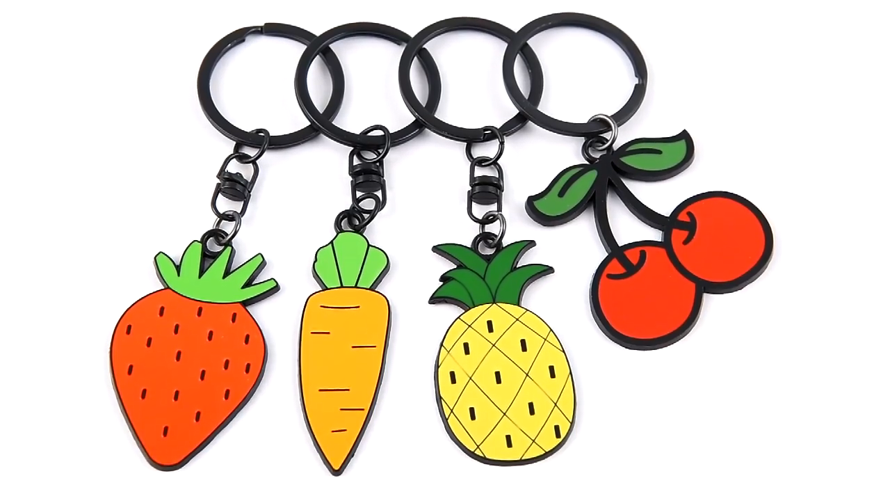 Promotional metal crafts custom logo gift 3D fashion fruit strawberry carrot cherry yellow pineapple metal keychain