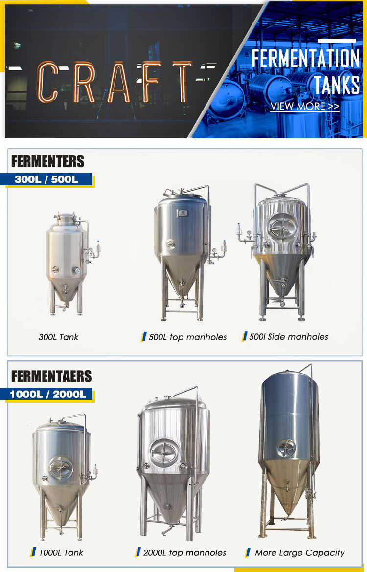 Stainless Steel 300L 500L 1000L 2000L Microbrewery Equipment Beer Brewing Equipment For Sale