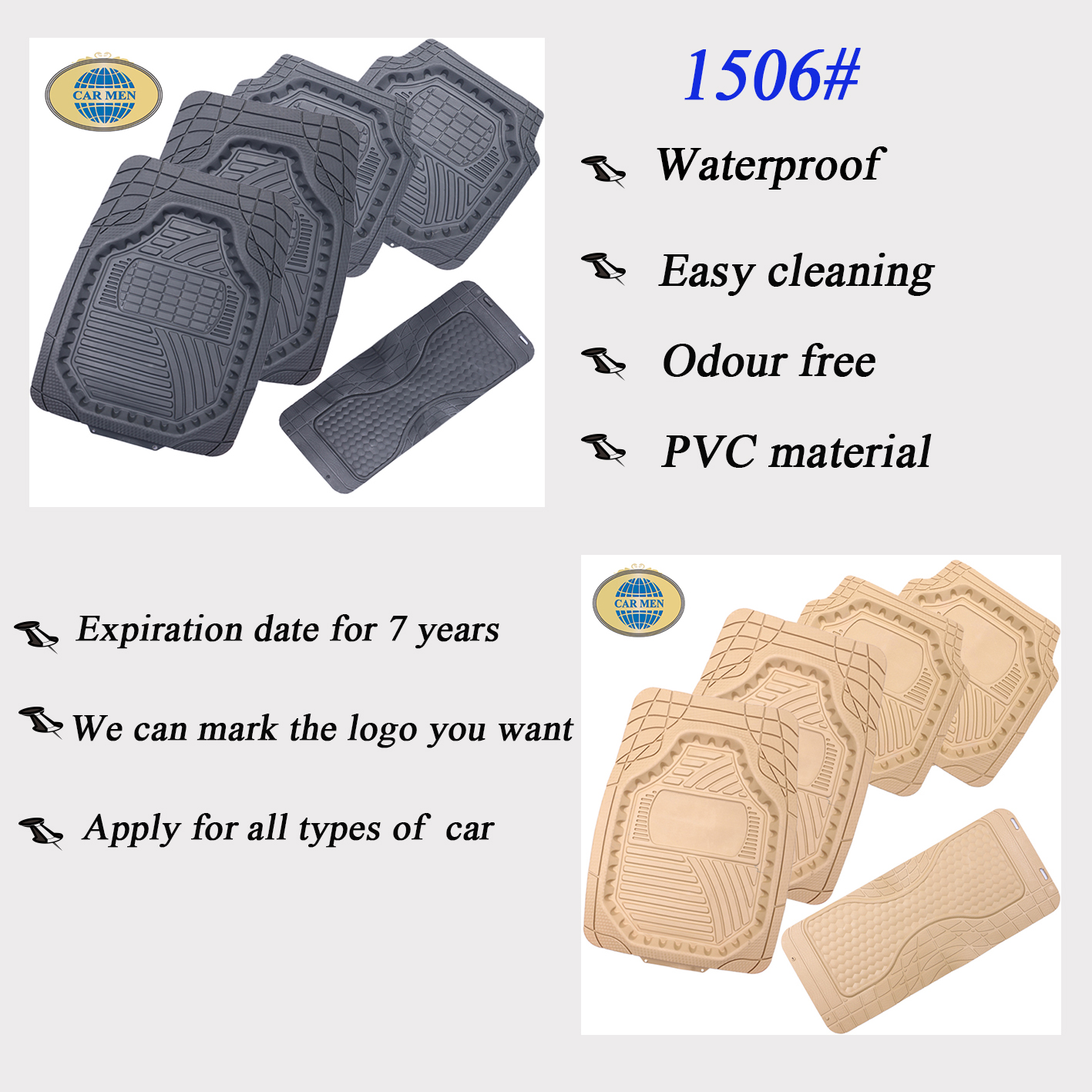 PVC universial for all types car floor mats good design easy cleaning