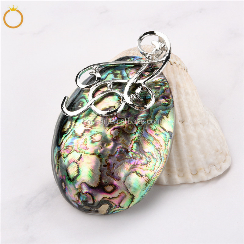 MOP172 Peacock Ocean Resort Holiday Gift Rainbow Abalone Natural Sea Shell Puff Oval Paua Pendant