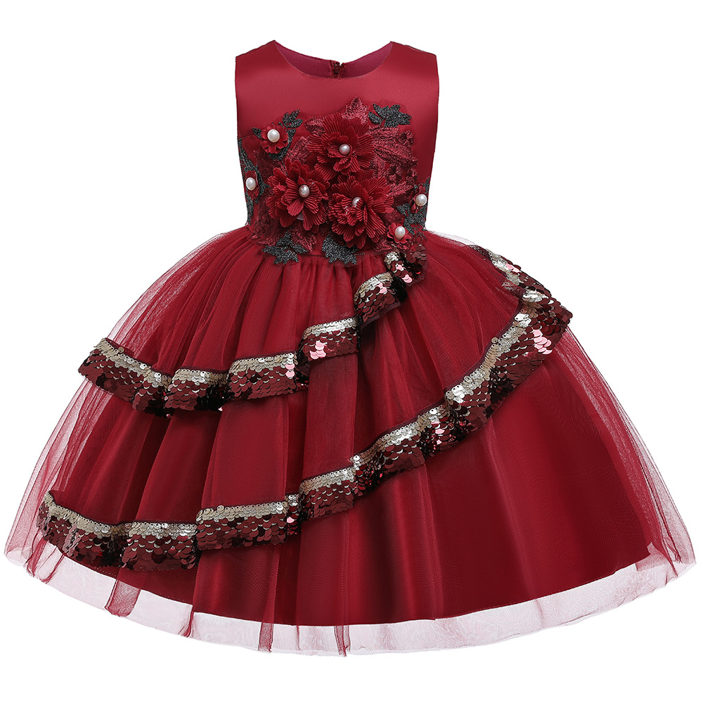 Princess New <strong>Fashion</strong> Summer <strong>Kids</strong> One Piece Long Beaded Flower Baby Girl Dress Party