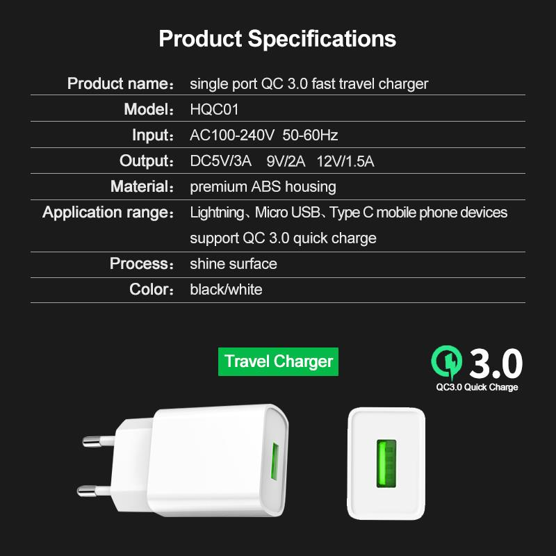 Fast phone USB Charger mobile phone quick charge 3.0 18W wall charger qc3.0 smart usb fast charging charger