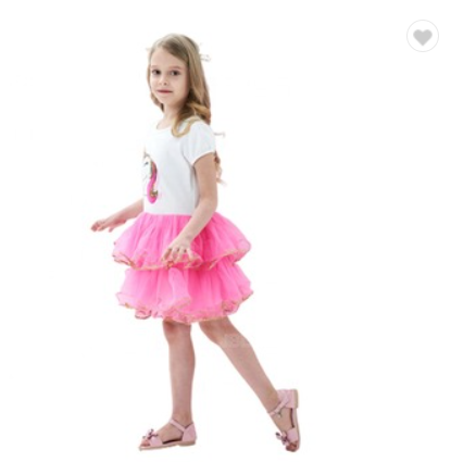 Hot New Products Girls Cartoon Dress Pink Tutu Dancing Ballet Tiered Skirt Size 3-7