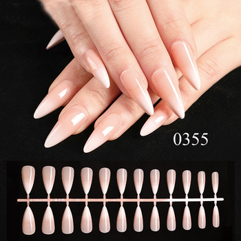 Full cover long shape french false nails press on nails