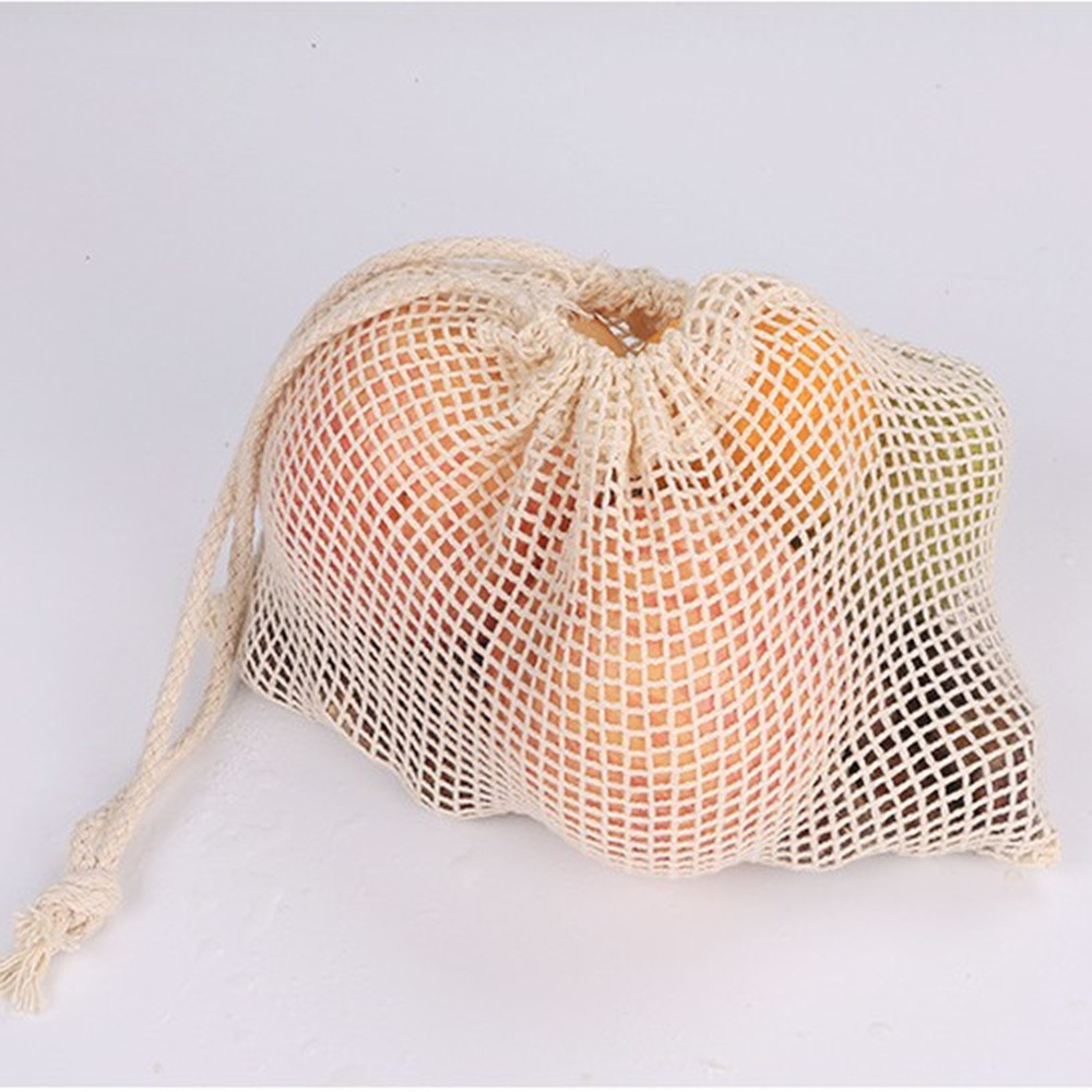 100% Natural Organic Cotton Mesh Net Produce Shopping Grocery Bag for vegetables and fruits