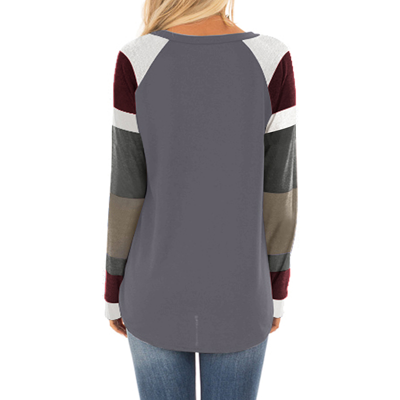 Color Block Long Sleeves Brown Pullover Women Tops 2019