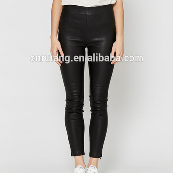 Latest women slim fit patent leather PU shiny feet pants