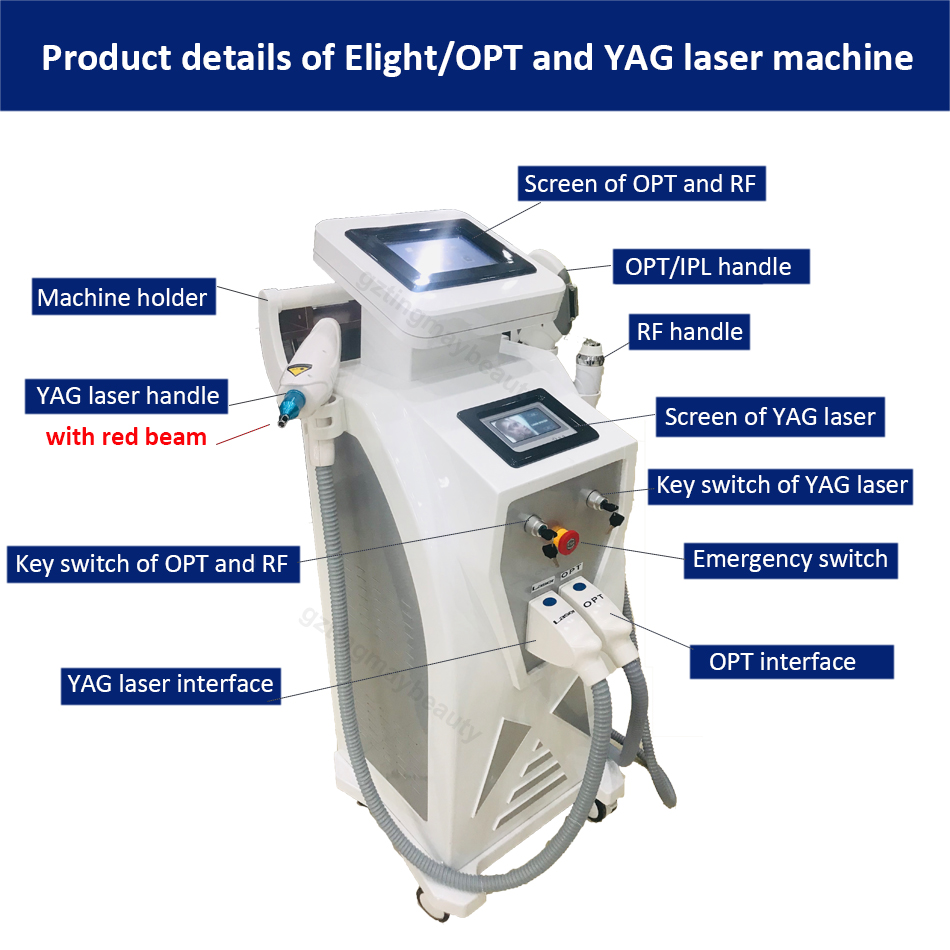8.4 inch color touch display 5.1 LCD screen  Elight +OPT+RF handles nd yag laser beauty machine For hair & tattoo removal