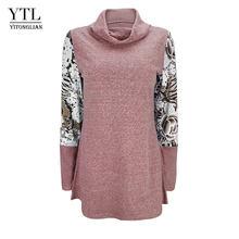 YTL Женские топы с длинным рукавом, водолазки, пуловер для женщин на осень и зиму, Лоскутная свободная многослойная туника, топ, футболка H258(Китай)