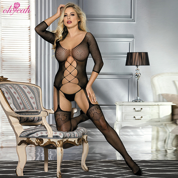 OHYEAH High Quality Mesh Fishnet Open Crotch Sheer Nylon Bodystocking