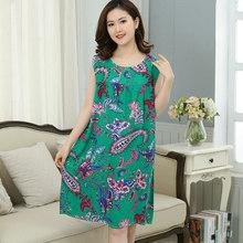 Ночная рубашка с принтом для женщин, ночная рубашка без рукавов размера плюс, летняя свободная винтажная ночная рубашка, женское домашнее п...(Китай)