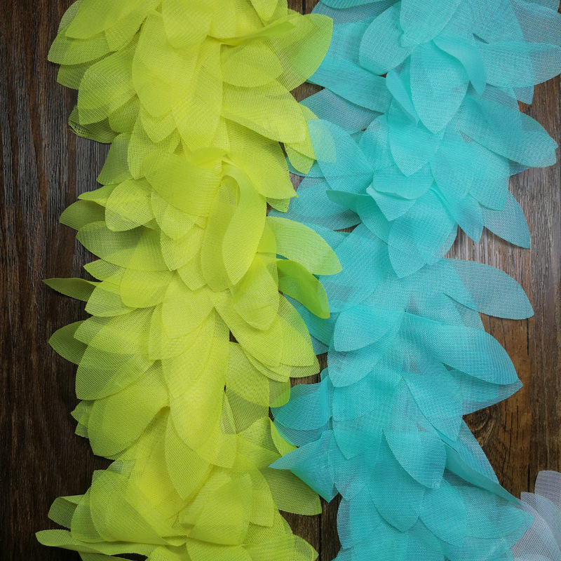 Diy handmade chiffon leaf lace trim leaf decorative accessory solid lace