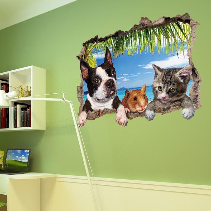 3D Động Vật Con Mèo Con Chó Đáng Yêu Tường Trang Trí Sử Dụng Cho Em Bé Phòng Trẻ Em Phòng